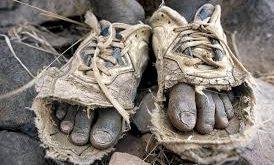 Đôi giày rách của bác nông dân